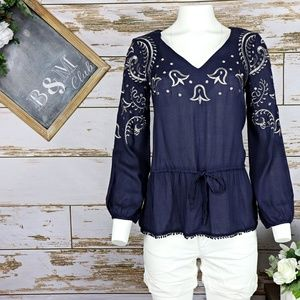 Moon Collection Women's Silver Embroidery Blouse